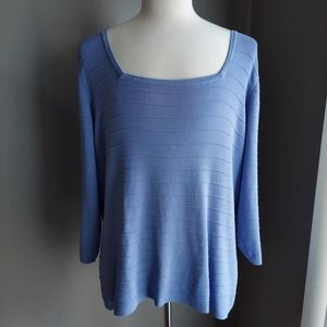 Dialogue Periwinkle Blue Rayon/Spandex Sweater 2X